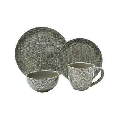 Kain 16-Piece Taupe Dinnerware Set