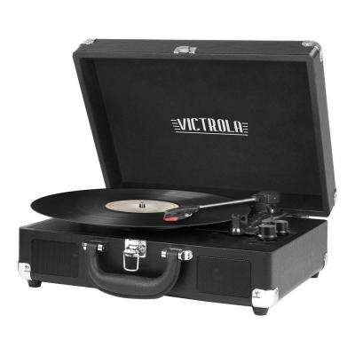 3-Speed Suitcase Turntable with Bluetooth in Black