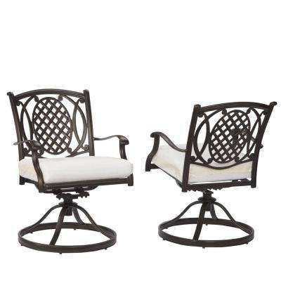 Belcourt Custom Swivel Rocking Metal Outdoor Dining Chair (2 Pack) With  Cushions Included