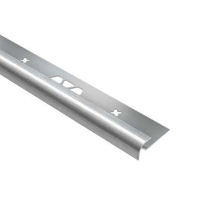 Vinpro-RO Brushed Chrome Anodized Aluminum 1/4 in. x 8 ft. 2-1/2 in. Metal Bullnose Resilient Tile Edge Trim