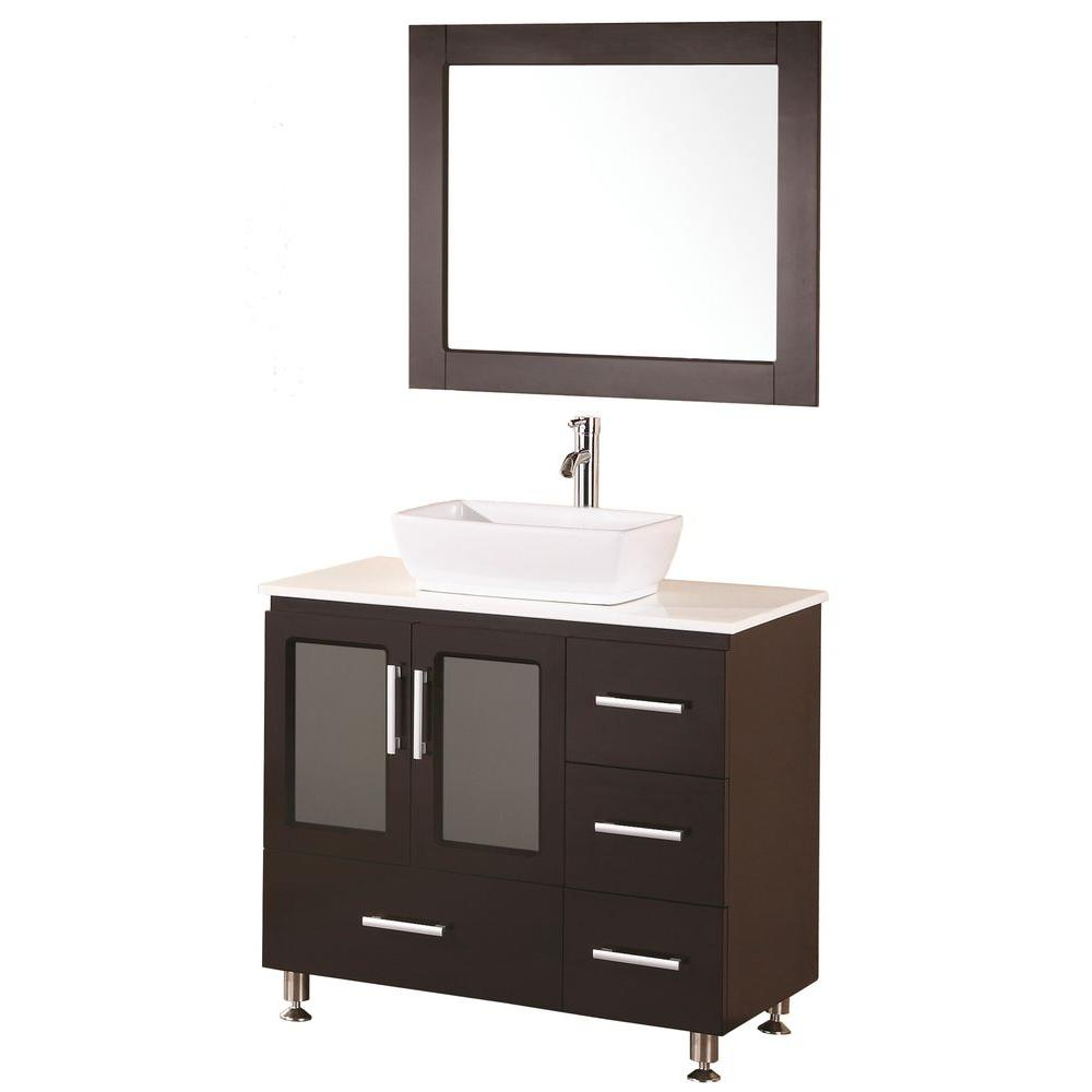 Design Element Stanton 36 in. W x 20 in. D Vanity in Espresso with Composite Stone Vanity Top and Mirror in White