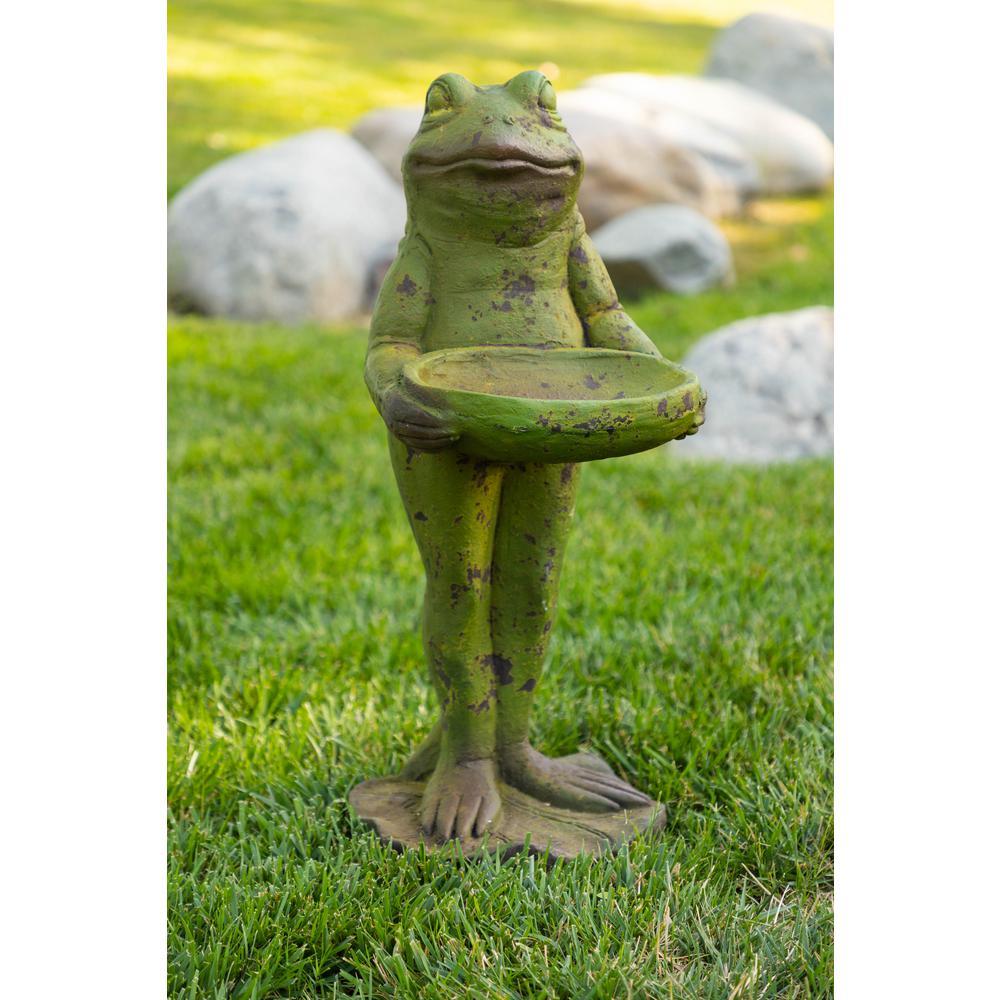 Frog with Birdbath Statue