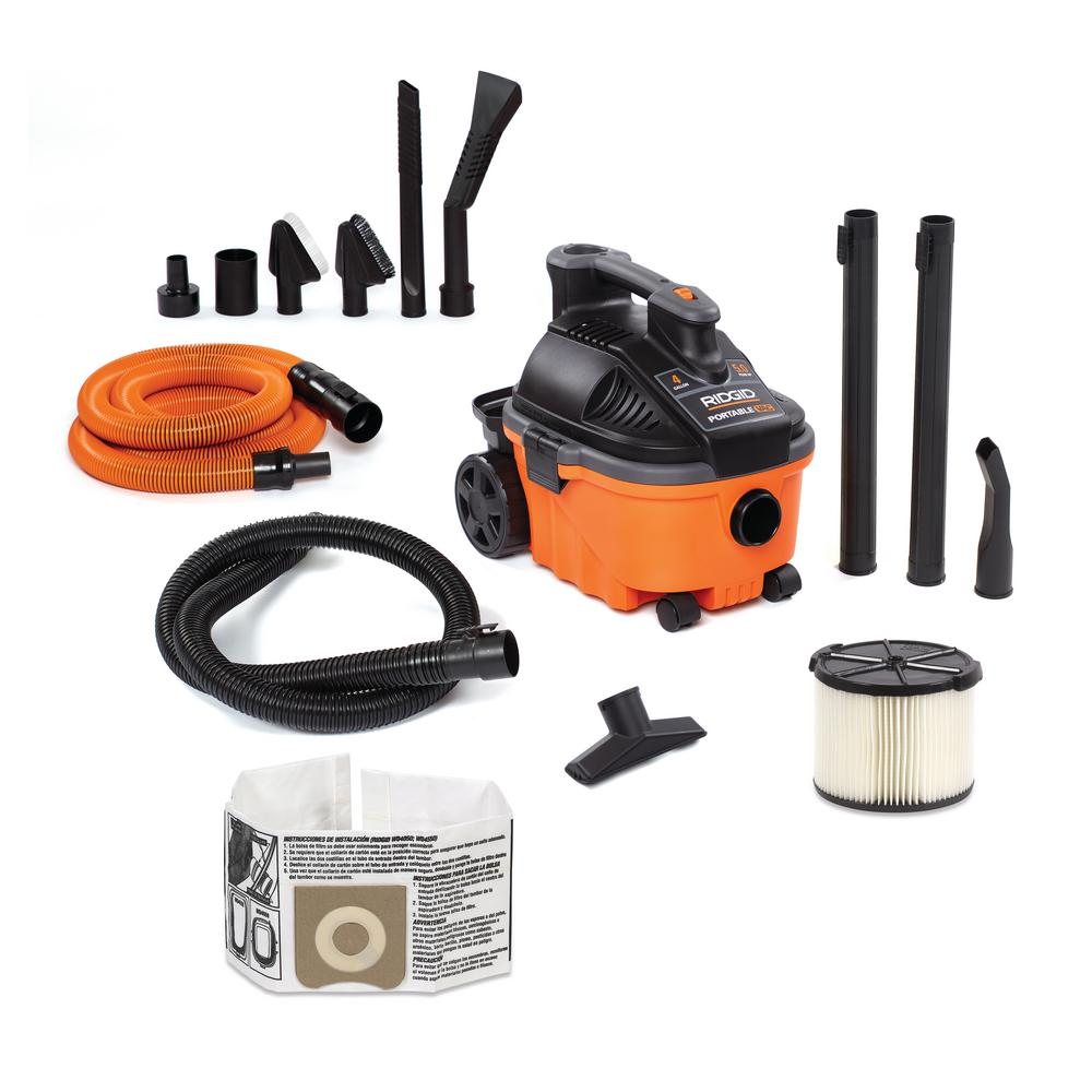 RIDGID 4 Gal. 5.0-Peak HP Portable Wet/Dry Shop Vacuum with Filter, Hose, Accessories and Premium Car Cleaning Kit