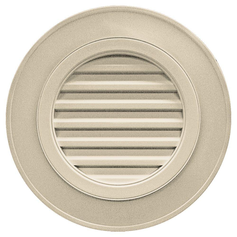 Builders Edge 28 in. Round Gable Vent in Sandalwood (without Keystones)