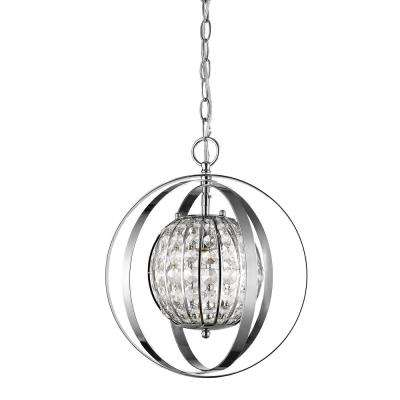 Olivia 1-Light Indoor Polished Nickel with Crystal Pendant
