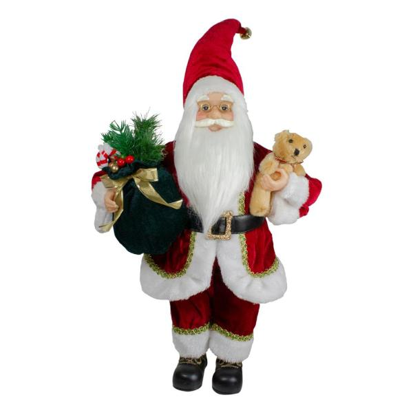Northlight 18 In Standing Santa Christmas Figure With A Plush Bear 34316585 The Home Depot