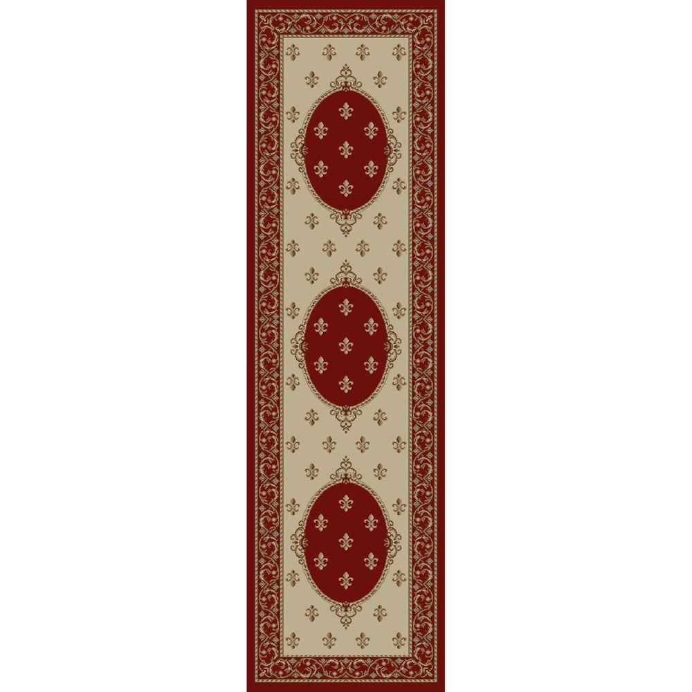 Jewel Fleur De Lysmedallion Red 2 ft. 3 in. x 7