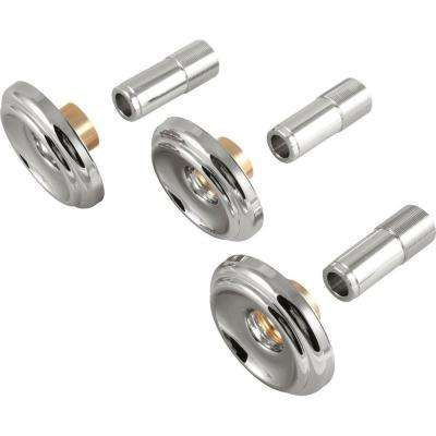 Set of 3-Handle Tub and Shower Faucet Metal Escutcheons and Sleeves in Chrome