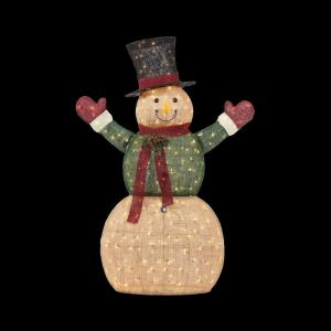 Home accents holiday 5 ft pre lit burlap snowman in coat Home accents holiday yard decorations