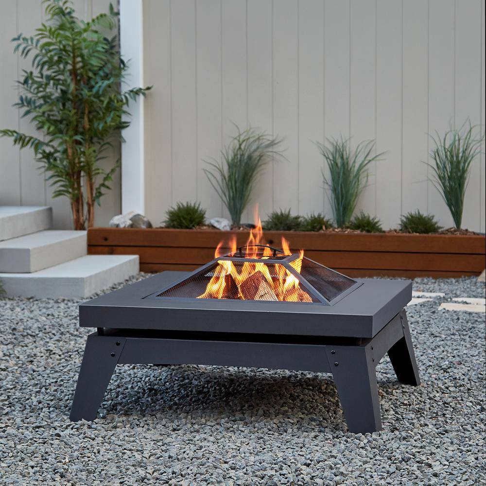 Real Flame Breton 37 In X 20 In Square Steel Wood Burning Fire Pit