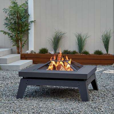 Breton 37 in. x 20 in. Square Steel Wood-Burning Fire Pit in Gray with Spark Screen and Protective Cover