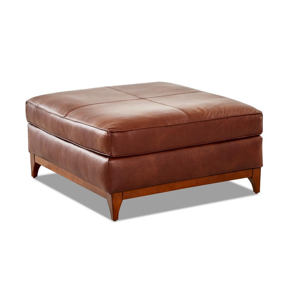 Ansley Leather Wood Base Chestnut Ottoman