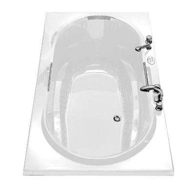 Antigua 72 in. Acrylic Center Drain Oval Drop-in Air Bath Bathtub in White