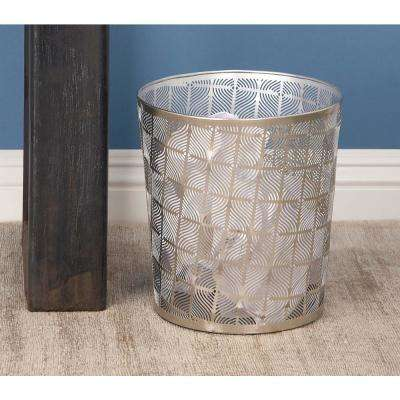 10 in. Gray and Silver Cylindrical Metal Waste Can with Ogee Pattern Cut-Outs