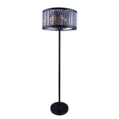 Chelsea 72 in. Mocha Brown Floor Lamp with Silver Shade Grey Crystal