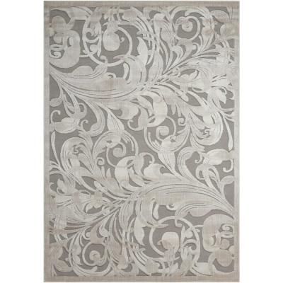 Graphic Illusions Grey/Camel 2 ft. x 4 ft. Floral Contemporary Area Rug