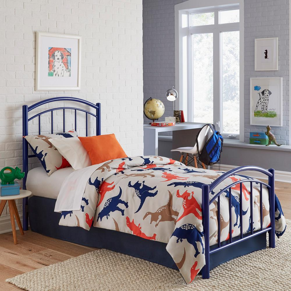 Rylan Cadet Blue Twin Kids Bed with Metal Duo Panels