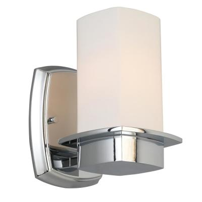 Vlacker Chrome Wall Sconce with Frosted Opal Glass Shade