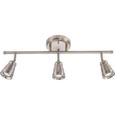 Pepper Mill 3-Light Brushed Nickel Track Lighting Fixture with LED Bulbs