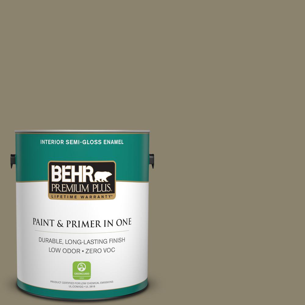 BEHR Premium Plus 1-gal. #ECC-55-3 Olive Sprig Zero VOC Semi-Gloss Enamel Interior Paint