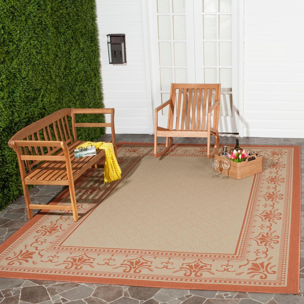 Courtyard Natural/Terracotta 9 ft. x 12 ft. Indoor/Outdoor Area Rug