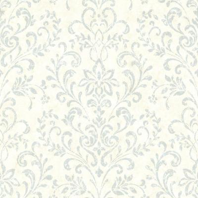 Presley Blue Country Damask Wallpaper