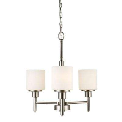 Aubrey 3-Light Satin Nickel Chandelier with Frosted White Shades