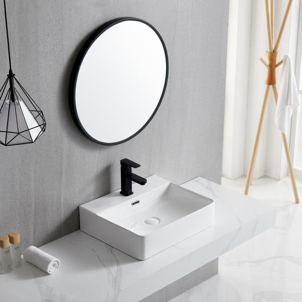 Boyel Living White Above Counter Wall Mounted Ceramic Rectangular Vessel Sink With Pop Up Drain Faucet Hole And Overflow Ys Bathsnik 048 The Home Depot