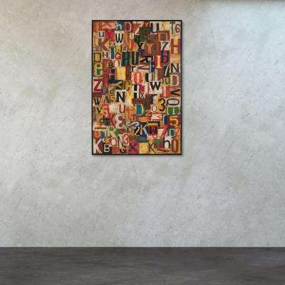 """72 in. x 48 in. """"Typographic Collage"""" Tin and Mahogany Wall Art"""