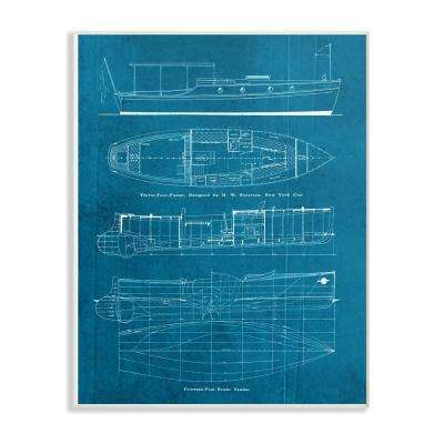 "13 in. x 19 in. ""Informational Boat Blueprint"" by Piddix Printed Wood Wall Art"