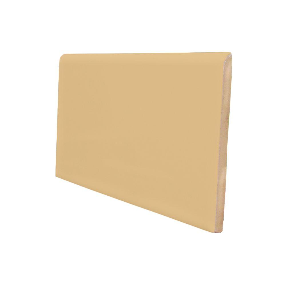 U.S. Ceramic Tile Matte Camel 3 in. x 6 in. Ceramic 6 in. Surface Bullnose Wall Tile-DISCONTINUED