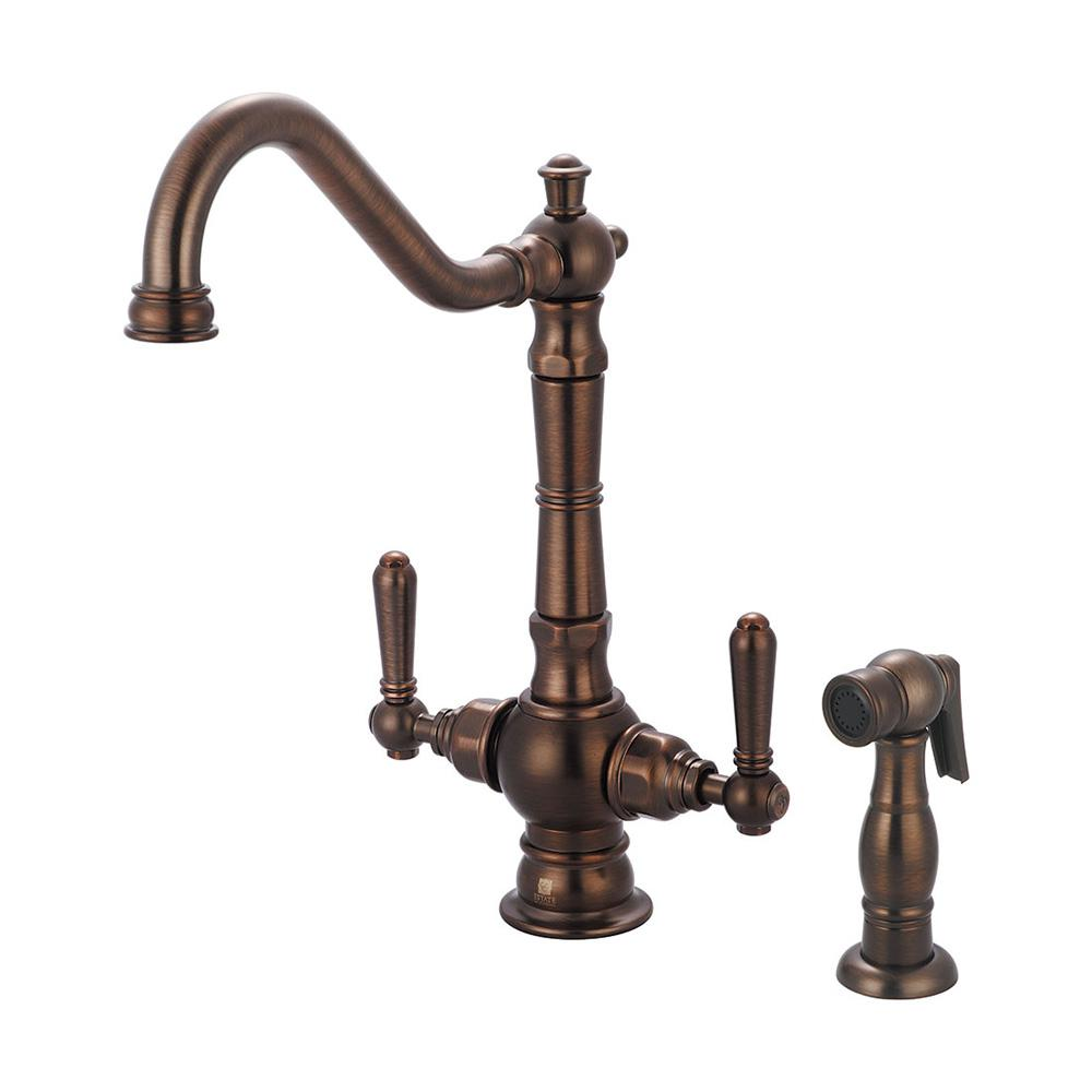 pioneer faucets americana 2-handle standard kitchen faucet with side sprayer in oil rubbed