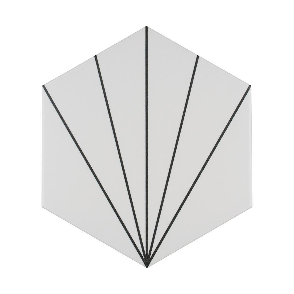 Aster Hex Blanco Encaustic 8-5/8 in. x 9-7/8 in. Porcelain Floor