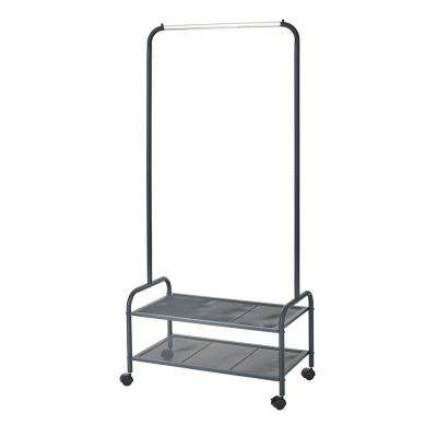 Heavy-Duty Steel Rolling Garment Rack with 2 Metal Mesh Shelves in Black