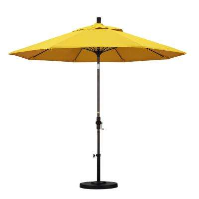9 ft. Fiberglass Collar Tilt Patio Umbrella in Lemon Olefin