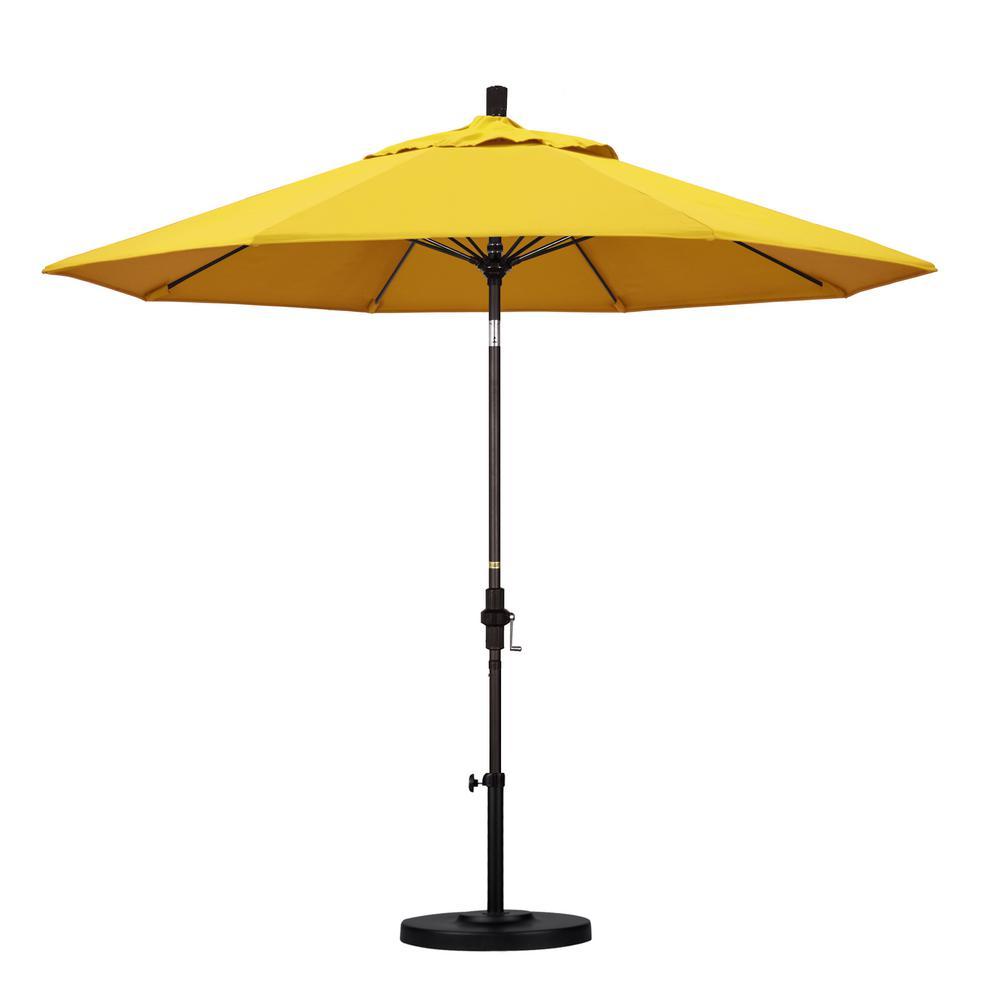 9 ft. Fiberglass Collar Tilt Patio Umbrella in Lemon Olefin