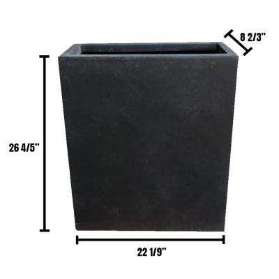 22 in. x 9 in. x 27 in. Lightweight Concrete Modern High Charcoal Planter