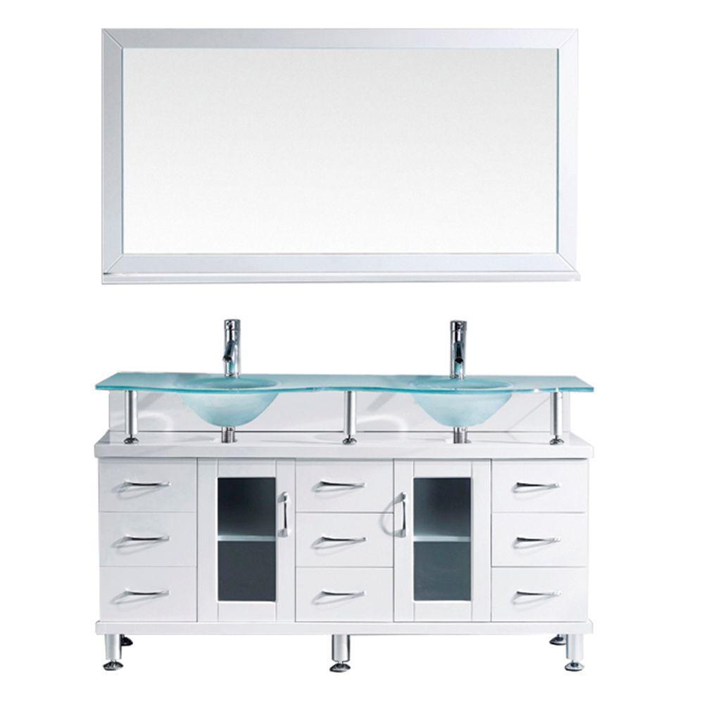 W Bath Vanity In White With Glass Bath Vanity Top