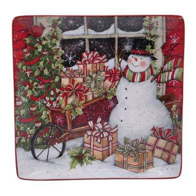 Snowman's Sleigh Earthenware Square Platter