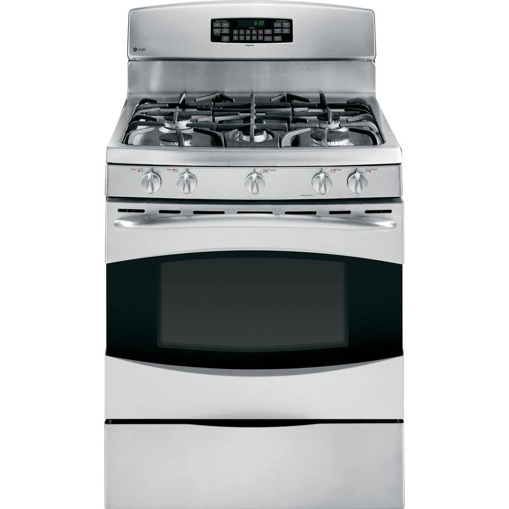 GE Profile 5.4 cu. ft. Gas Range with Self-Cleaning Convection Oven in Stainless Steel