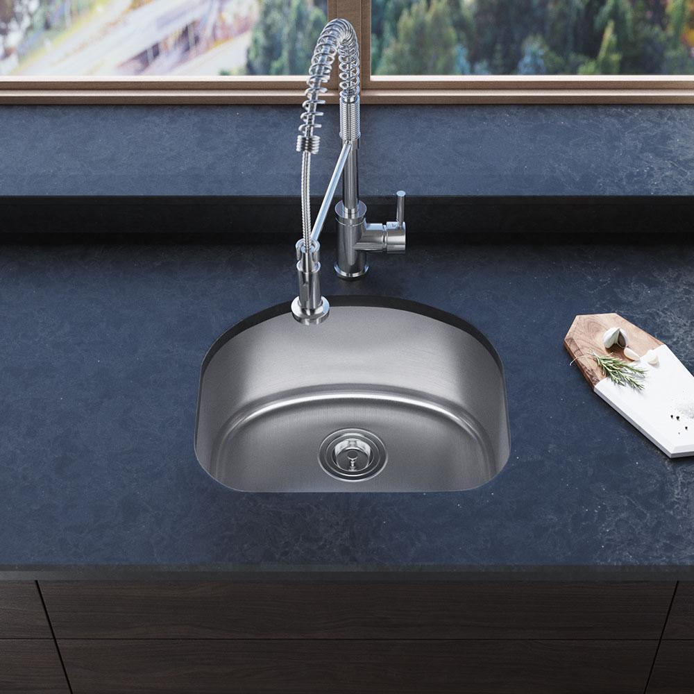 Rene Undermount Stainless Steel 20-1/8 in. Single Bowl Kitchen Sink