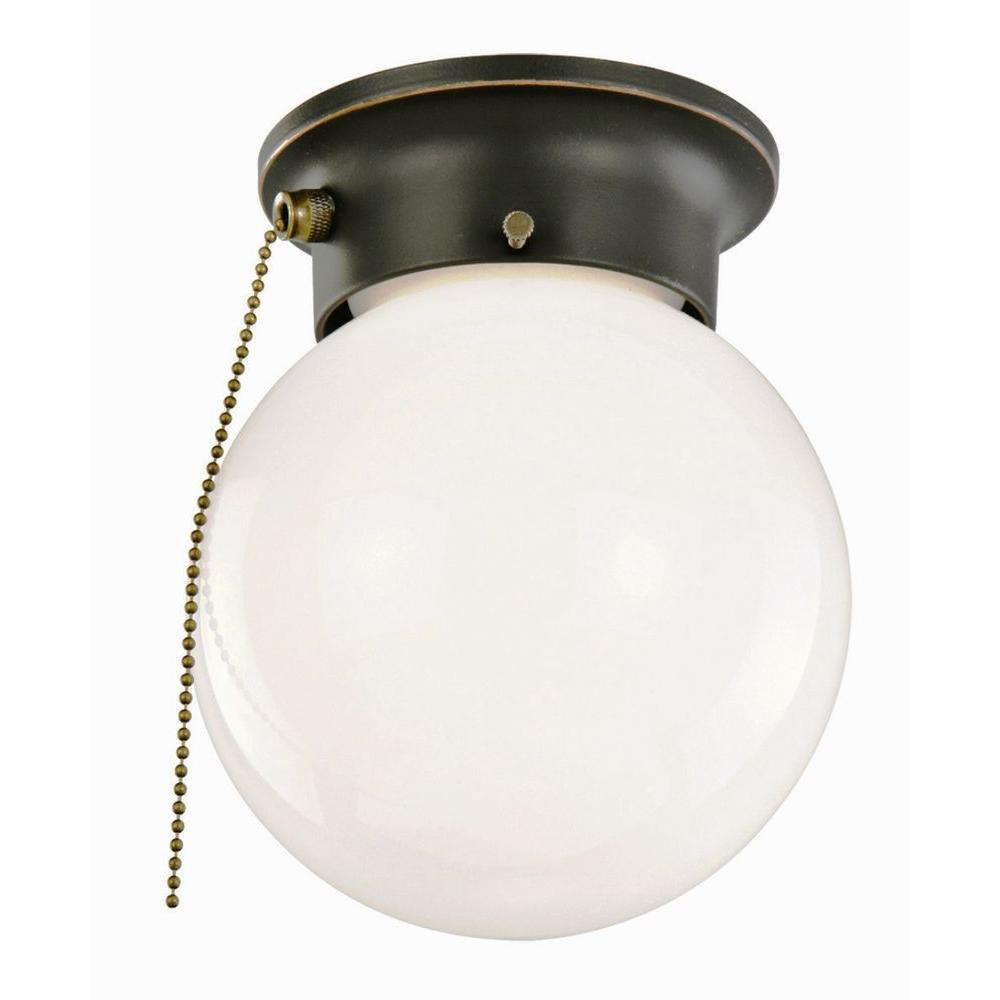 Design House 1 Light Oil Rubbed Bronze Ceiling With Opal Gl And Pull Chain