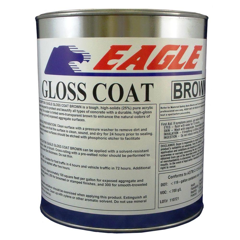 Eagle 1 gal. Gloss Coat Brown Tinted Semi-Transparent Wet Look Solvent-Based Acrylic Exposed Aggregate Concrete Sealer