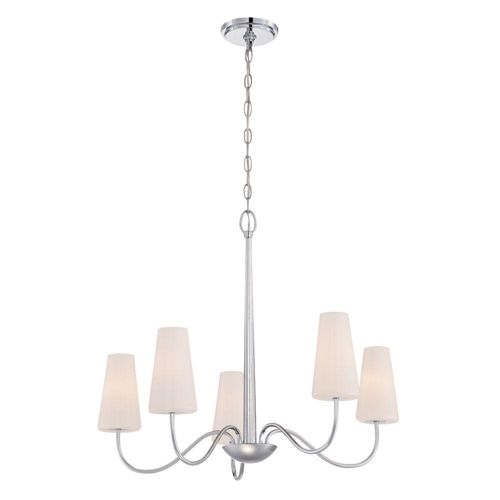 Enza Collection 5-Light Chrome Chandelier with Glass Shade