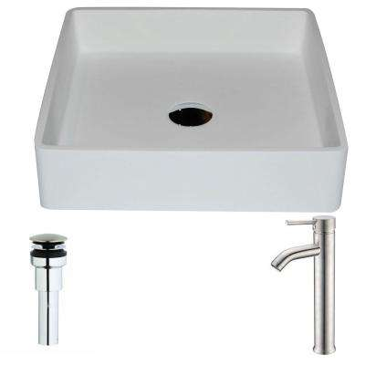 Passage Series 1-Piece Man Made Stone Vessel Sink in Matte White with Fann Faucet in Brushed Nickel