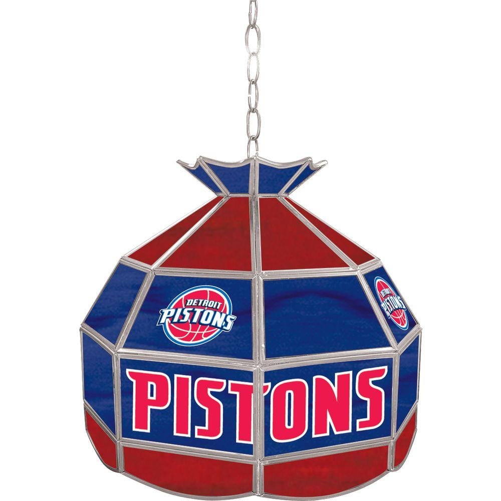 Trademark Global Detroit Pistons NBA 16 in. Nickel Hanging Tiffany Style Lamp
