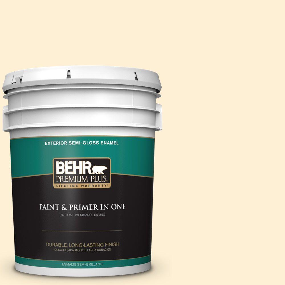 BEHR Premium Plus 5-gal. #350C-1 Downy Semi-Gloss Enamel Exterior Paint