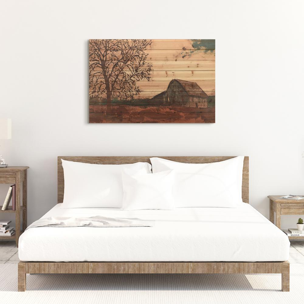 """30 in. x 45 in. """"Erstwhile Barn 2"""" Arte de Legno Digital Print on Solid Wood Wall Art"""