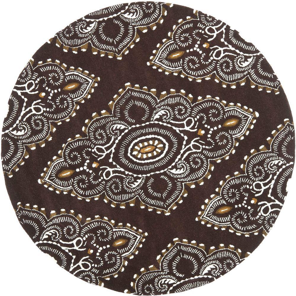 safavieh wyndham brown ivory 7 ft x 7 ft round area rug wyd372b 7r the home depot. Black Bedroom Furniture Sets. Home Design Ideas