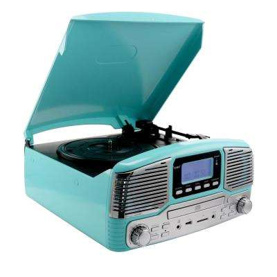 Retro Record Player with Bluetooth and 3-Speed Turntable in Turquoise